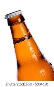 Unlabeled beer bottle against white background