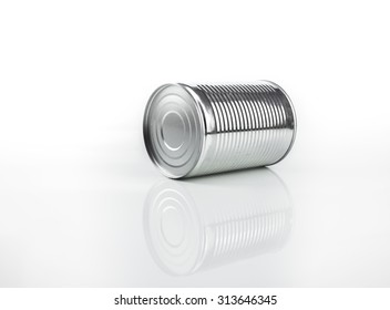 Unlabeled tin can over isolated white background