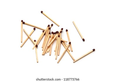 Unlit matches on white background