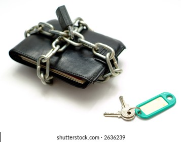 Unlock open wallet purse lock and chain for business money or budget or budget spend with blank label for text