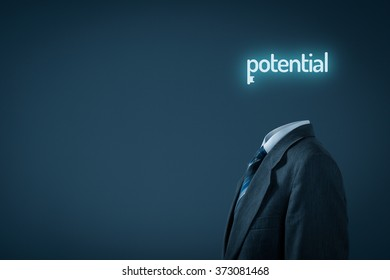Unlock potential - motivational concept. Businessman with symbol of the key connected with text potential instead of the head.