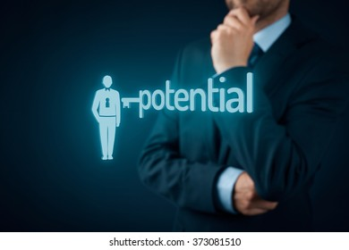 Unlock potential - motivational concept. Manager (HR specialist) think about motivation - symbol of the key connected with text potential and symbol of the businessman.