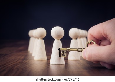 Unlock potential - motivational concept. Manager (HR specialist) unlock leader potential represented by figurine and hand with key.