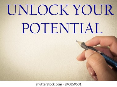 unlock your potential text write on wall