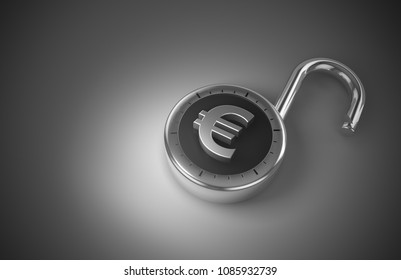 Unlocked Euros that are unprotected and unsecured as 3d rendering. A combination lock with a Euro sign is unlocked representing unsecured, vulnerable money.