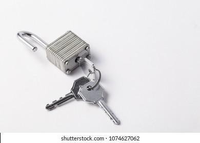 unlocked padlock isolated on a white background