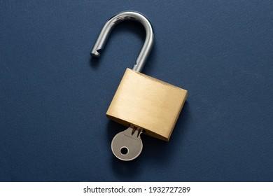 Unlocked Padlock on the blue background.