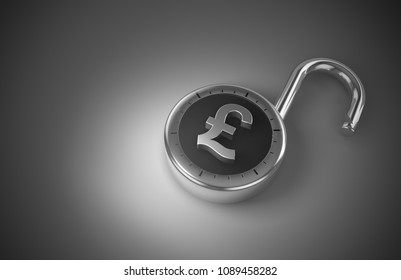 Unlocked pounds, unprotected and vulnerable as 3d rendering. A combination lock is unlocked with a British Pound Sterling sign representing unsecured vulnerable money in danger.