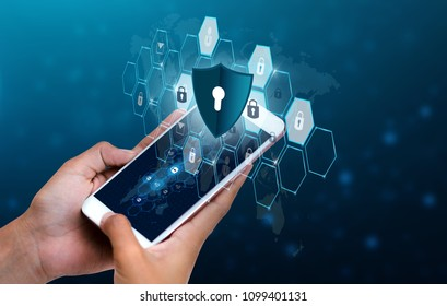 Unlocked smartphone lock Internet phone hand Business people press the phone to communicate in the Internet. Cyber security concept hand protection network with lock icon and virtual screens Space put