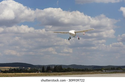 Unmanned aerial vehicle (UAV) in the sky.