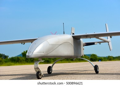 unmanned aerial vehicle.prepare for take off in taxi way.