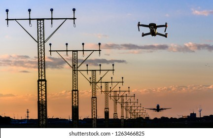 Unmanned drone flying near runway at airport while commercial airplane takes off leading to possible collision - digital composite