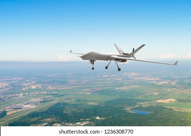 Unmanned military drone uav on patrol air territory at low altitude