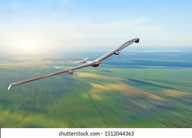 Unmanned military turboprop drone powered by solar batteries and panels on patrol air territory at low altitude