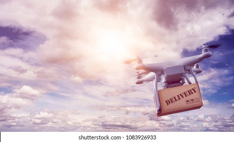 unmanned multicopter drone with package flying in front of an epic sky with wonderful sun flare