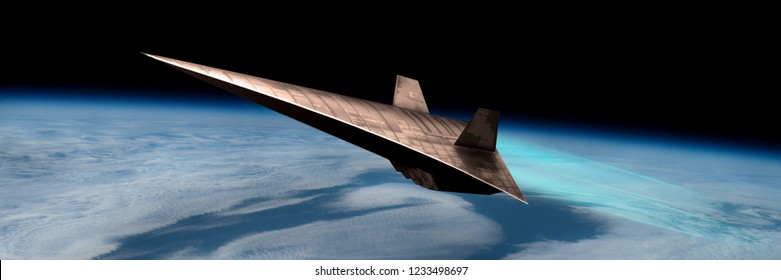 An unmanned scramjet flys toward outer space near the edge of Earth's atmosphere. The twin engines use the thin air for oxygen. - Elements of this image courtesy of NASA
