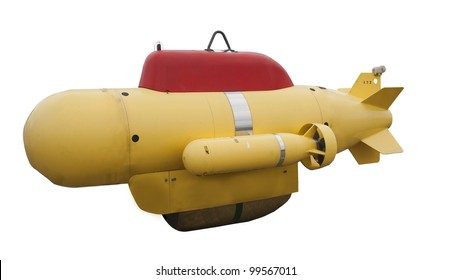 An unmanned submarine on a white background