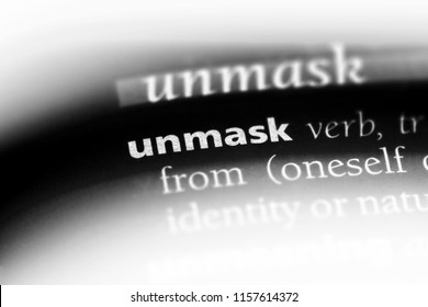 unmask word in a dictionary. unmask concept.