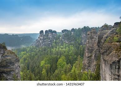 Unmatched landscape with rocks near Rathen, Germany, Europe (Sachsische Schweiz)