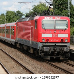 UNNA, GERMANY - JULY 15: DB train of Deutsche Bahn in Unna, Germany. DB employs 276 thousand people and had 34.4 billion EUR revenue in 2010.