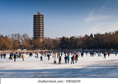 The unnamed lake of Peking university? In winter, students in Peking University are skiing on the Unnamed Lake of Peking University.