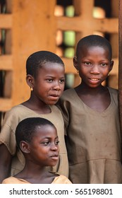 UNNAMED ROAD, TOGO - JAN 12, 2017: Unidentified Togolese children wait a lesson in a primary school. All subjects are in French language in Togo