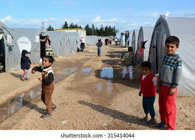 Unnamed  syrian (kurdish) people in refugee camp in Suruc. These people are refugees from Kobane and escaped because of Islamic state attack. April 3, 2015; Suruc, Turkey