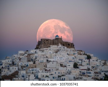 An unnatural big moon over the castle of Astypalaia