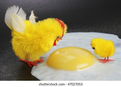 Unnatural violent death. Life destruction. Two chickens adult and young looking to yolk.