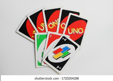 Uno cards board game in Moscow on May 2020. Original Uno deck of cards, family fun activity game. Playing cards of Uno game - one of the most popular board games in the world