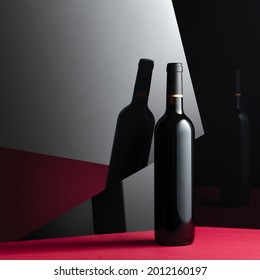 The unopened bottle of red wine. Concept image with copy space.