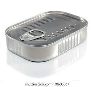 Unopened Metal Ring Pull Sardine Can On A White Background