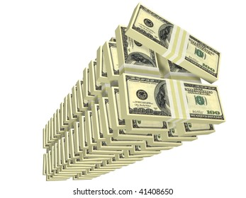 unordered tall stack of bills isolated on white