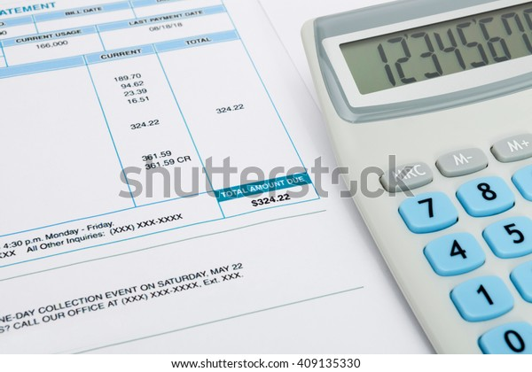 Unpaid Utility Bill Calculator Over Series Stock Photo (Edit