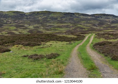Unpaved country road in Scottish Highlands near Loch Tay and Ben Lawers