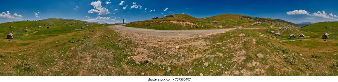 Unpaved road Batumi-Akhaltsikhe and High-Resolution Landscape 360 degree Panorama of Adjara region of Georgia near Khulo village