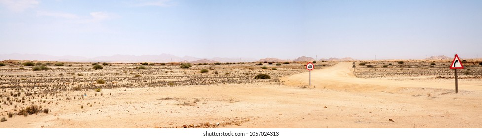 Unpaved road through the Namib desert in West Namibia; some roads signs fill the emptyness.