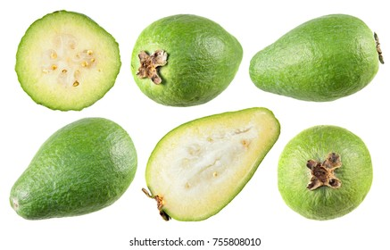 Unpeeled and cut in half green feijoa fruits isolated on white background