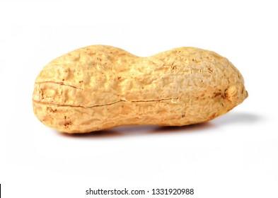 Unpeeled raw peanut isolated on white background