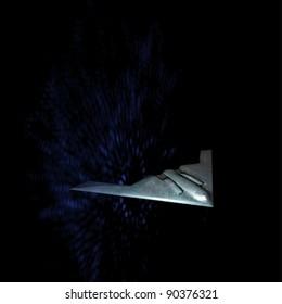 Unpiloted battle plane in fantasy scene with dark blue background