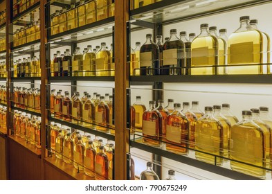 Unprocessed whisky in cabinet