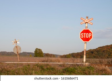 Unprotected rail crossing in Czech republic