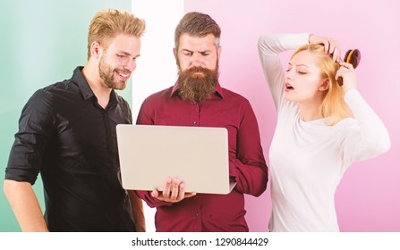 Unpunctual people usually annoying coworkers and breaking discipline system. How to be always on time. Work on your punctuality. Girl brushing hair while men work with laptop. Punctuality and timing.