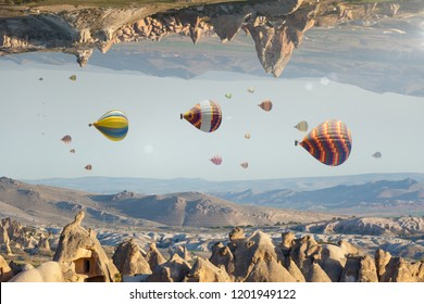 Unreal fantastic world, impossible surreal terrain, hot air balloons fly like fish in sky