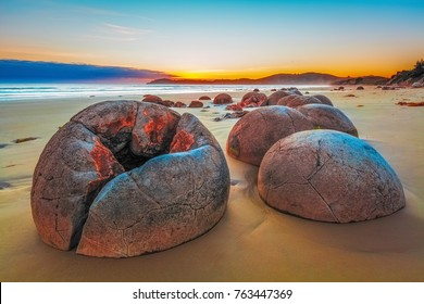 Unreal Moeraki Boulders at sunrise, Koekohe beach,Otago, South Island, New Zealand