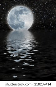 unreal moon over a great starfield, reflected on the sea