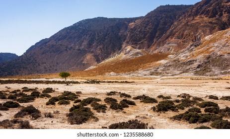 Unreal nature environment near vulcanic area. Stefanos vulcano at Nisyros Grece