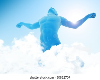 An unrealistic man flying above the sky