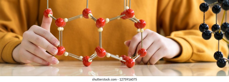 Unrecognisable female student holding molecular structure model. Science class concept.