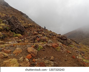 Unrecognisable lone hiker on the Tongariro Alpine Crossing hike,  Volcanic Landscape, New Zealand